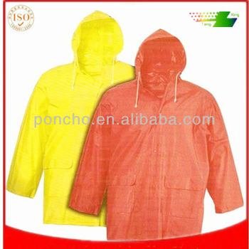 durable pvc rain jacket with pockets for adult
