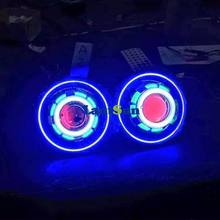 7 inches J eep Led/HID starry headlights with Devil Demon eye and led Angel halo