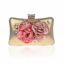 Promotional Floral Clutch Purse WWomen's Flower Clutches Evening Bags Pearl Beaded Evening Handbag Purses For Prom Bride Wedding