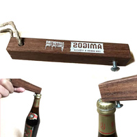 new design wooden strong metal nail push down bottle opener