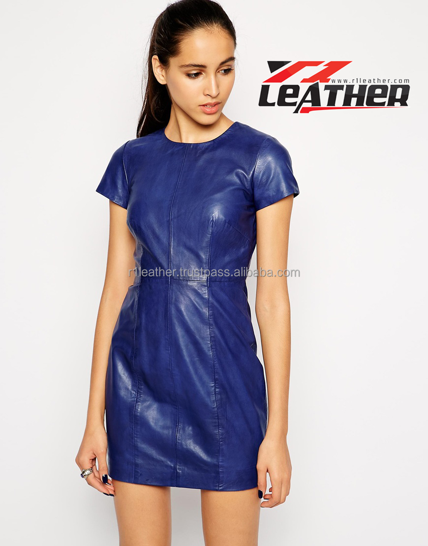 Fitted stretch blue women leather dress