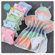 100% cotton muslin Fiber Baby Hooded towels Baby Hooded Bath Towels