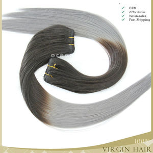 Hot new products for 2015 ombre two tone Brazilian silver gray human hair weave