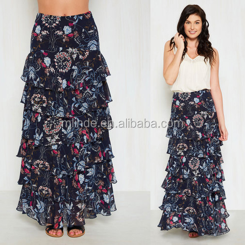 Wholsesale Custom Clothing Elegant Women Floral Tiered Ruffle Long Fitted Maxi Skirts for Summer Sexy Ladies Beach Wear