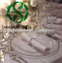 Cheap Clear Charger Plates Silver Coated Glass Beaded Charger Plate For Wedding