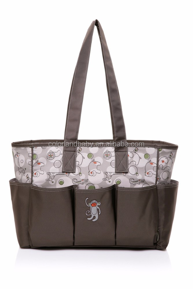 Water-risistant baby nappy custom printed tote bag, cute printed tote