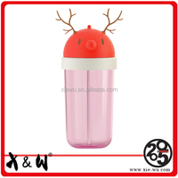 X&W Antlers Shape Plastic Straw Water Bottled