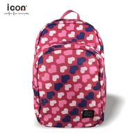 Pink hearts printing polyester backpack for girls
