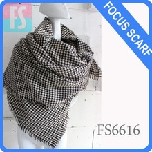 Houndstooth square wool scarf shawl