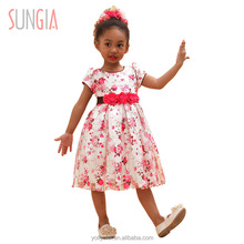 2018 fashion full printed children baby design party girls birthday dresses