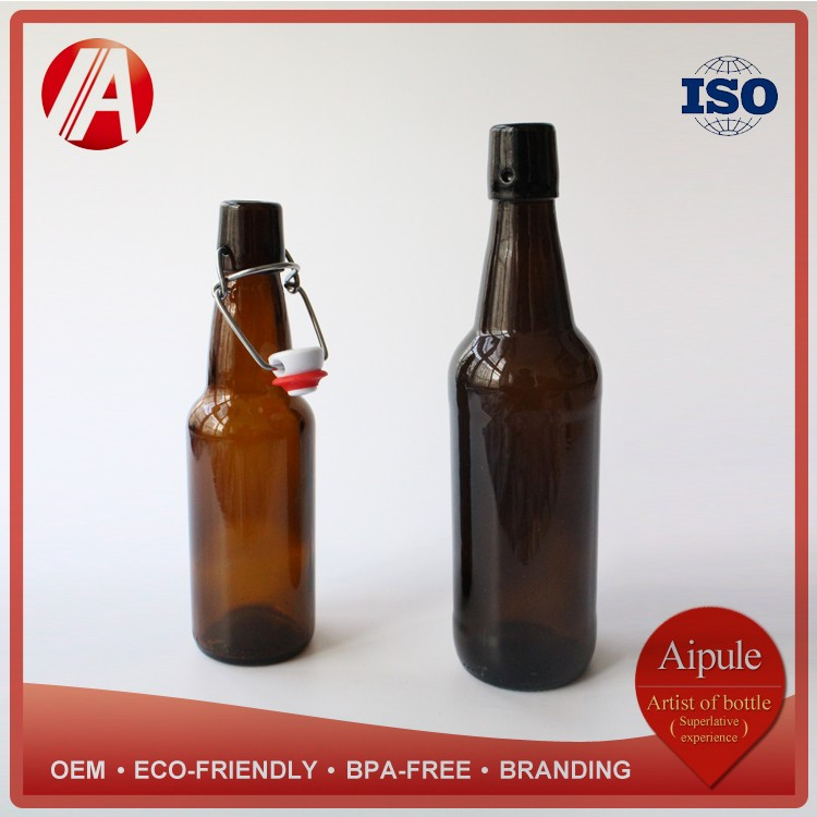 Amber beer glass bottle 500 ml 330 ml brown glass bottle beverage swing top wine bottle