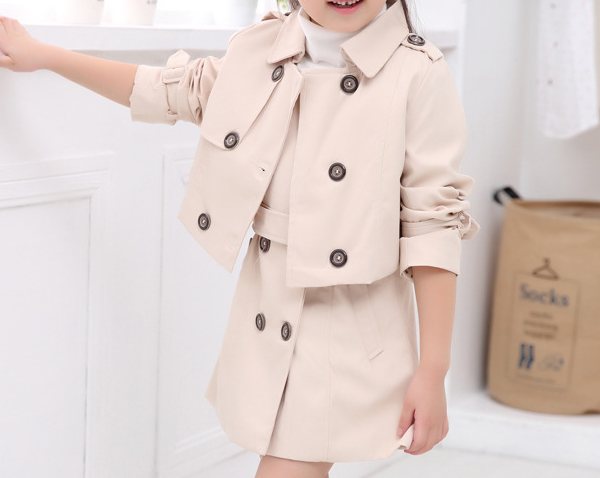 Childrens autumn clothing for new models in Europe and America double-breasted coat for girls skirt suit two sets