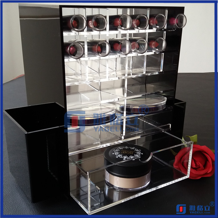Rotating black acrylic makeup brush holder / spinning lipstick tower / acrylic lipstick organizer for cosmetic powder
