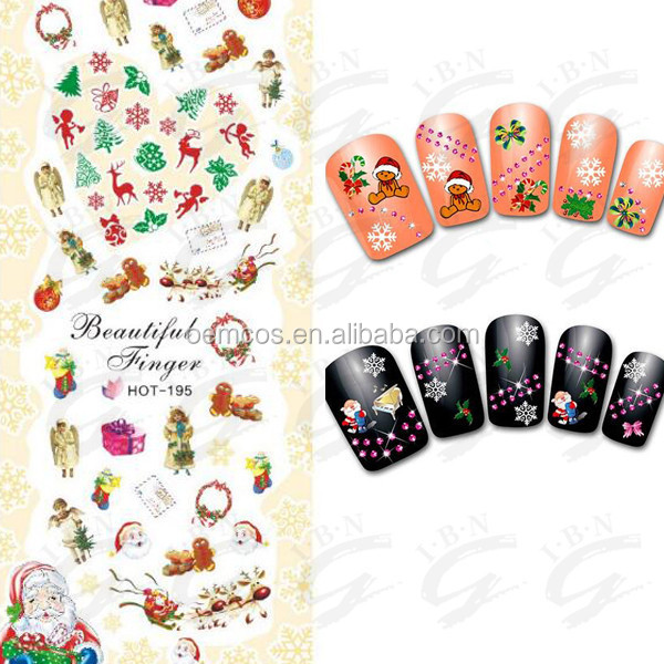 2016 OEM Nail Beauty Christmas Tree Saint Clause Water Transfer Nail Sticker