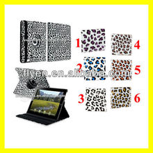 For The New iPad 4 3 2 Leopard Rotating Magnetic Leather Case Stylish Smart Cover Wholesale Cheap Lot Cases Covers 6 colors 6