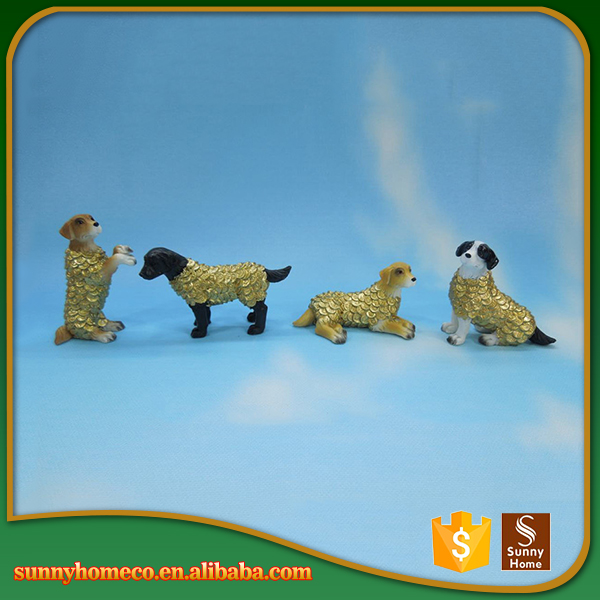 2017 new style chinese hound craft gold plating dog polyester wholesale resin figurines