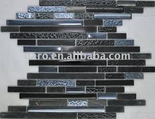 Long and short mixture tile marble stone glass brick