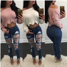 HT-WJW 2017 Wholesale Nice Good Quality Popular Custom Boyfriend Style Ripped Jeans Pants For Woman Jeans