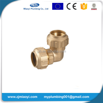 Brass Compression Fittings for PE Pipe - Elbow