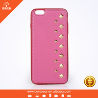 Fashion stylish cell phone leather cover with pyramid stud