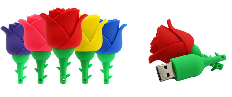 Colorful Flower Rose USB Flash Drive 8gb 16gb for Romantic Gift