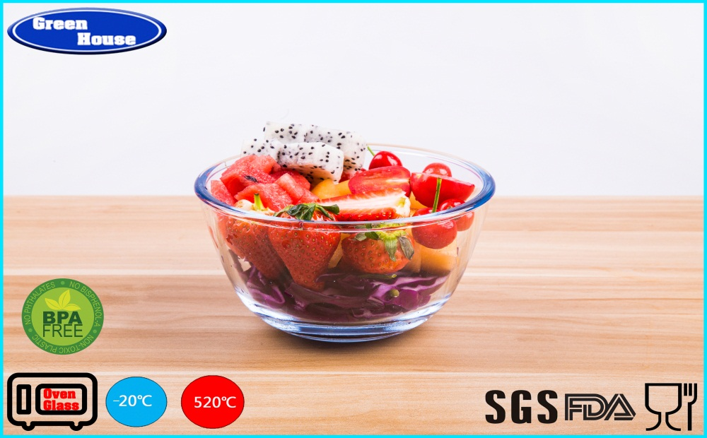 Popular Microwavable and Oven Borosilicate Glass nesting Mixing Bowl