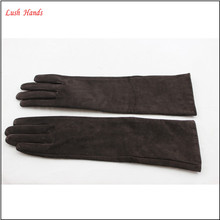 2016 new style wholesale ladies long suede leather gloves