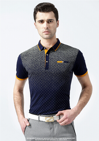 Hot Sale New 2015 Arrival Summer Short-sleeve Dot Gradient Polo Shirts Men Turn-down Collar Luxury Brand Active Polos Shirts