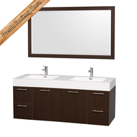 Hang solid wood bathroom cabinet vanity integrated resin basin FED-1392