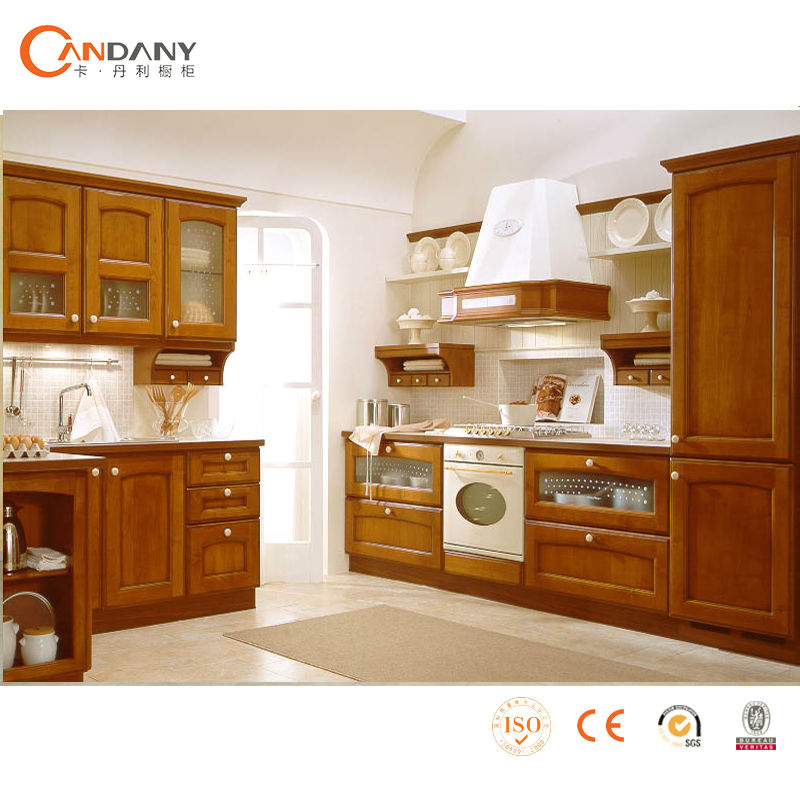 Modern cherry finished wooden kitchen cabinet-quartz kitchen top prices