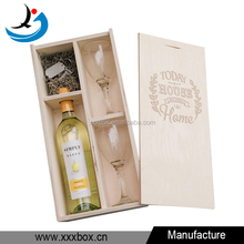high quality custom slide lid natural plywood wine case with 2 glasses