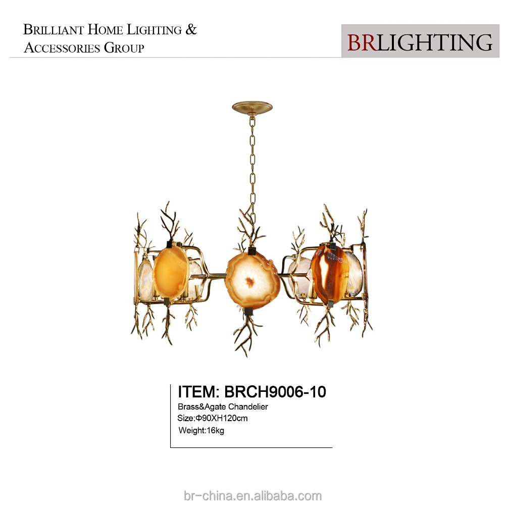 contemporary large big brass agate modern ceiling chandeliers pendant lamp lighting for art decoration