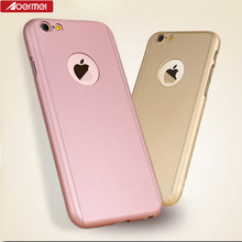 360 degree matte PC case with tempered glass mobile phone protective cover for iPhone 7