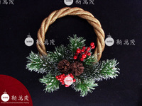 10 inch iced Pine needle Golden Decorated EVA Christmas wreath with berry