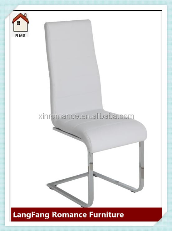 white leather metal chrome u leg modern dining chairs