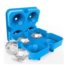 Diamond-Shaped Silicone Ice Cube Trays with Lids