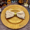 13 inch Home Decorative Wedding Catering Gold Square Glass Charger Plate Wholesale