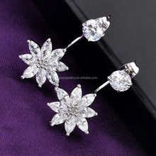 Double sided front and back stud crystal earrings flower