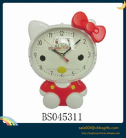 2016 new arrival red hello kitty cartoon alarm clock with light for children