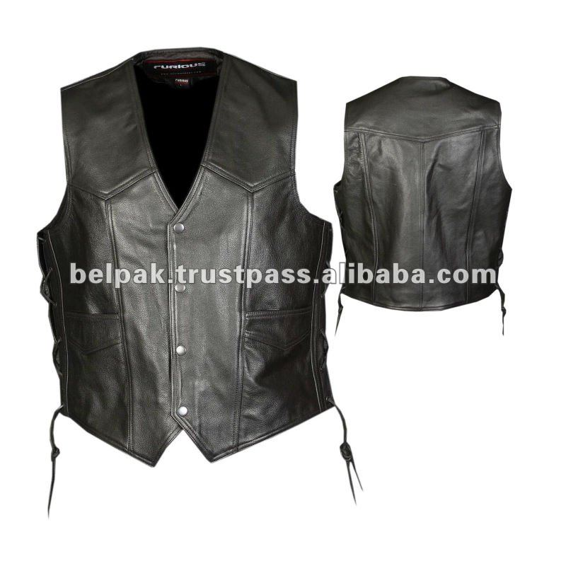 Unisex Leather Vest For Motorcycles