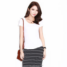 Lady & girl's 93% cotton & 7% lycra spandex elastic round neckline solid colors slim korean style Bottoming short t-shirt
