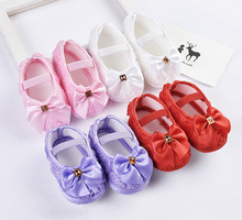 ZH1162F 2017 NEW Girls Baby Toddler Hand-Made Princess Pearl Beads Ribbon Bowknot Dress Shoes