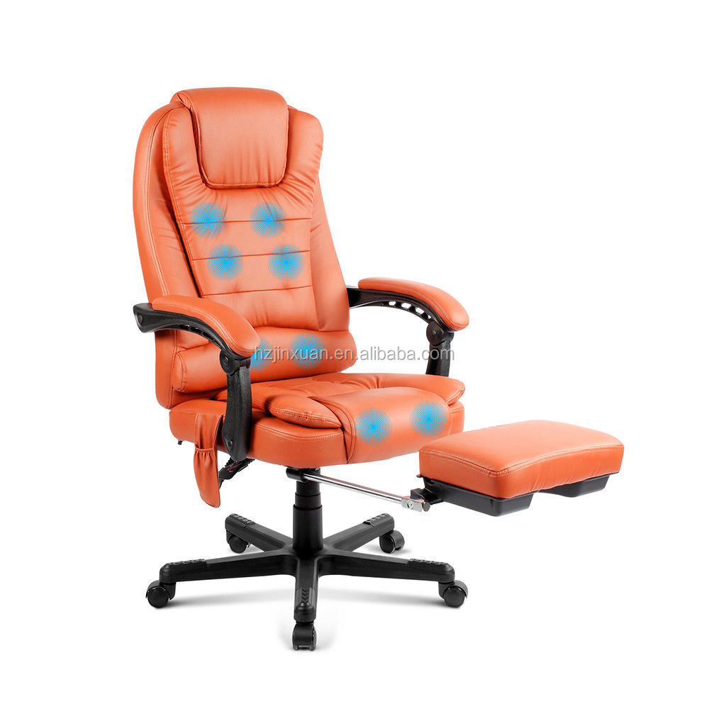 Top quality new style High Density Foam Leather 8 Point orange red office massage chair with footrest