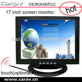 "Metal/plastic stand 15"" pos touch screen monitorVGA//TV interface,4:3 square display,1024x768 high resolution"