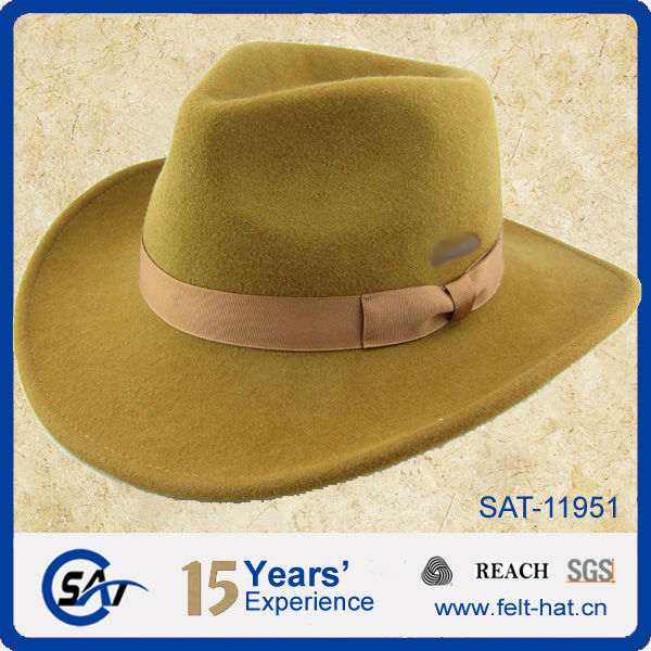 Cowboy hat with printed logo in crown, yellow fedora hat
