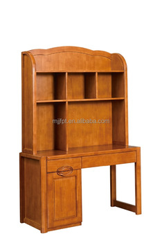 Solid wood kid children bedroom furniture study table with bookshelf 8630