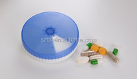 8*2cm round shape 7 compartment weekly pill organizer