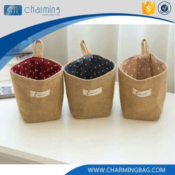 Top fashion OEM design cheap cylindrical brown printed burlap sack bag
