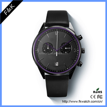 Customized Men's Quartz Chronograph Waterproof Watches Business Casual Minimalist Design Leather Band Strap Wrist Watch