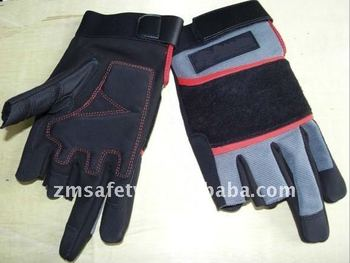 Two Fingers Cut Synthetic Leather Mechanic Gloves